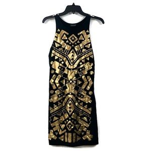 TOPSHOP metallic gold geometric sleeveless dress